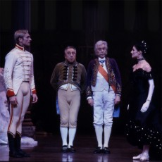 Geon van der Wyst, Harry Haythorne, Colin Peasley and Miranda Coney in The Merry Widow, 2000. Photo Branco Gaica